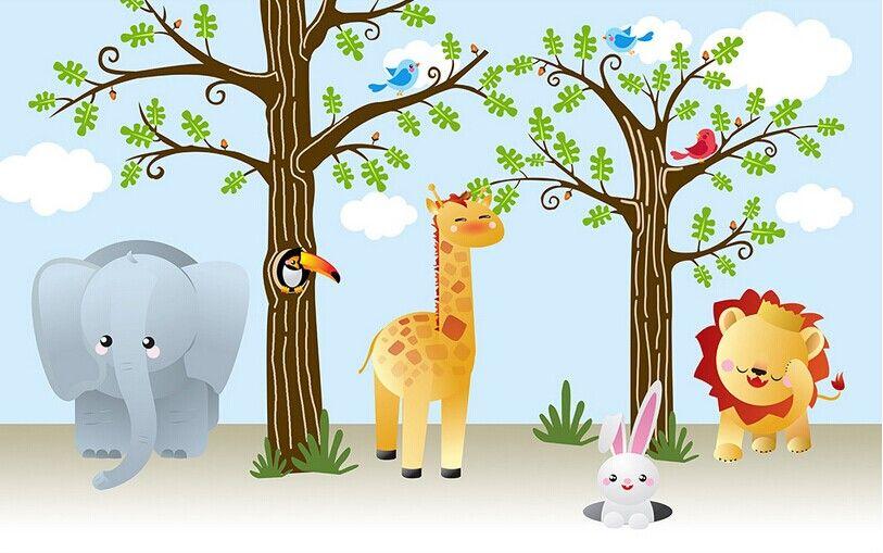 墙纸-可爱卡通长颈鹿