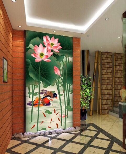 中式荷花玄关装饰画--高档酒店餐厅茶馆
