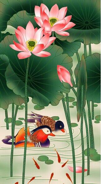 中式荷花玄关装饰画-高档酒店餐厅茶馆