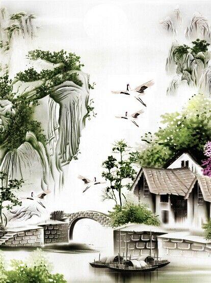 客厅过道玄关装饰画 中式古典小桥流水人家