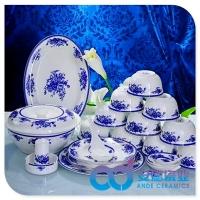 景德镇陶瓷餐具厂家批发定制 56头餐具定制 青花陶瓷餐具