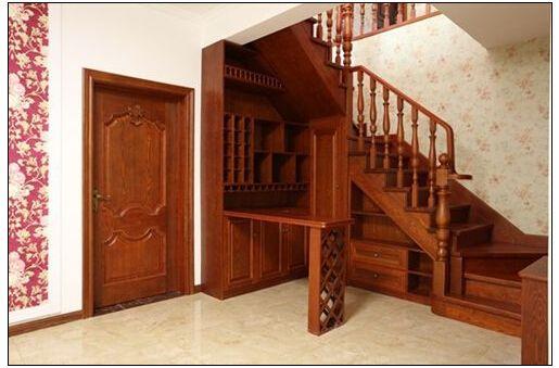 南京实木楼梯死角可以做成酒柜 - 南京盛发楼梯木门图片