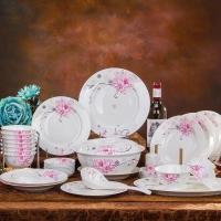 萱雅景德镇陶瓷餐具正品56头骨瓷碗碟套装家用