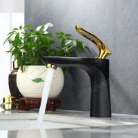 全铜冷铬黑色烤漆单孔浴室卫生间龙头洗脸盆洗手盆台盆水龙头
