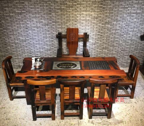老船木茶桌椅组合简约户外阳台茶几休闲功夫船木茶台实木家具