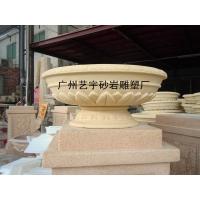 仿砂岩花盆批发/园林景观花钵价格/人造石雕塑花盆厂