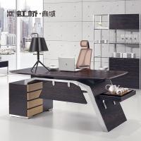 虹桥商务办公家具板式木纹办公桌 老板桌工作台