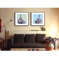 木亚muya现代欧式抽象有框画色彩花瓶客厅装饰画