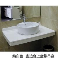 洁仕高卫浴-生态美纹石台面 纯白色-直边