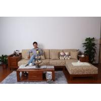 纯榆木转角沙发 L型实木沙发 中老湿影院48试现代简约定制家具