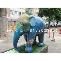 玻璃钢大象雕塑,玻璃钢彩绘动物雕塑