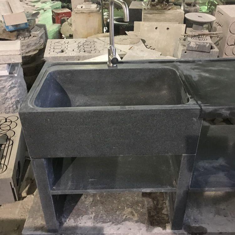 天然石拖把池石头拖把池石拖水桶水池家庭别墅阳台庭院石头拖把池
