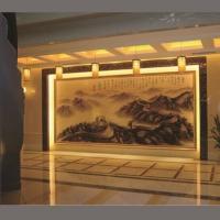 雕刻山水画金箔艺术玻璃背景墙 会议室幕墙影视墙 装饰玻璃画