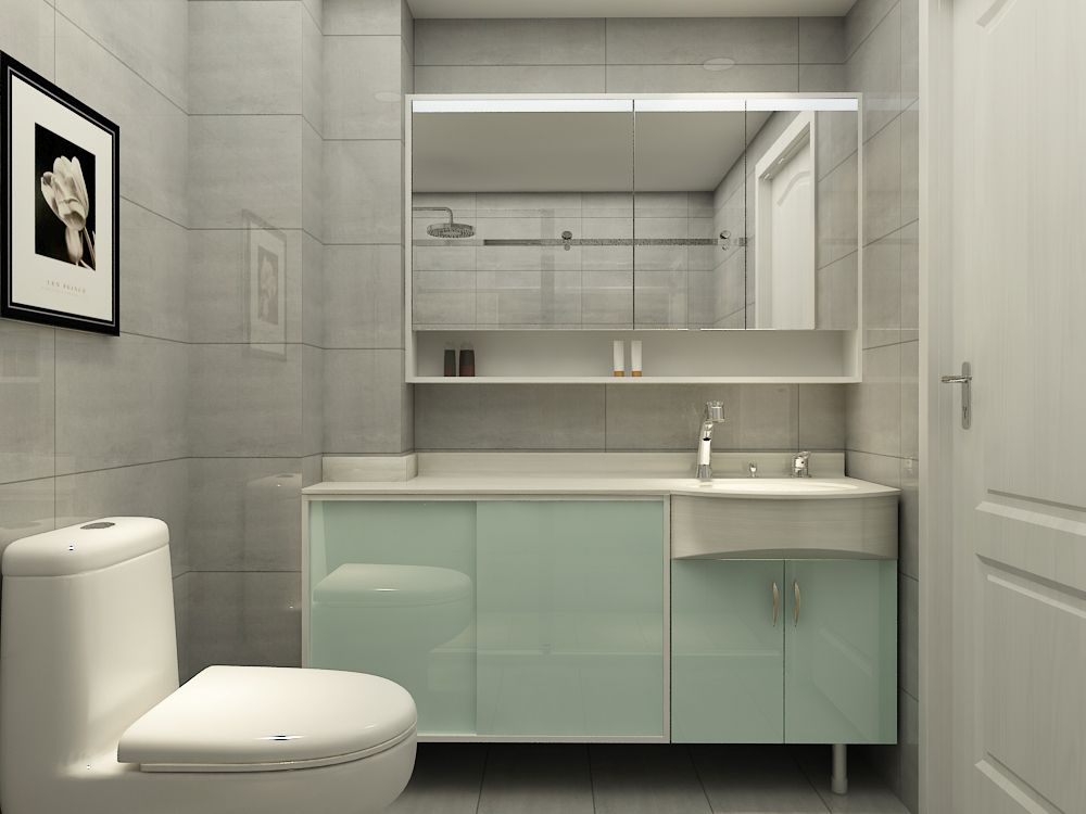 西文定制浴室柜:KA110R,右盆,白玻,云石臺面,左臺面挖缺,左邊推拉門; 注解:左邊墻柱旁邊的馬桶讓我們不得不考慮挖缺后的柜體怎么利用,方案中左邊推拉門的設計不但避開了坐廁,也將挖缺剩下部分充分利用。 西文定制衛浴墻角柱方案二: 模塊組合包柱方案
