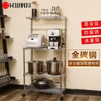 川井厨房置物架 落地不锈钢色家用微波炉烤箱储物收纳架子