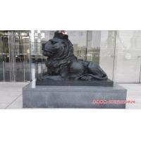 铜狮子雕塑,趴着狮子铜雕