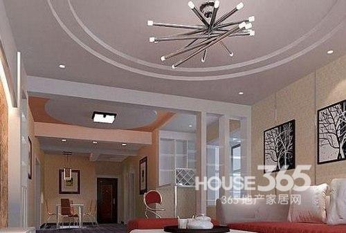 客厅石膏线效果图:小户型客厅吊顶设计,双圆形的设计,金属质