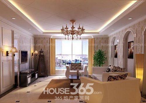 客厅石膏线吊顶效果图:美式乡村气质错层客厅,白色格子型的吊顶也是