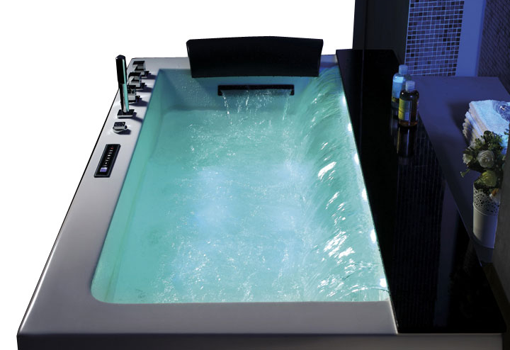 厂家直销 单双人亚克力嵌入按摩浴缸豪华1.85米冲浪浴池
