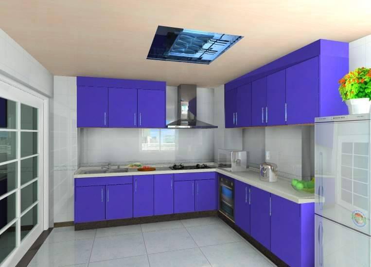 厨房蓝色橱柜效果图