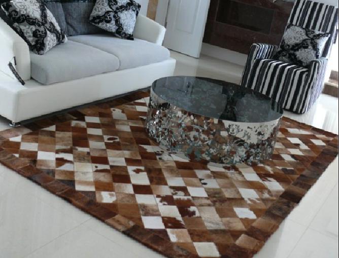 手工牛皮拼接地毯 客厅卧室展厅地毯