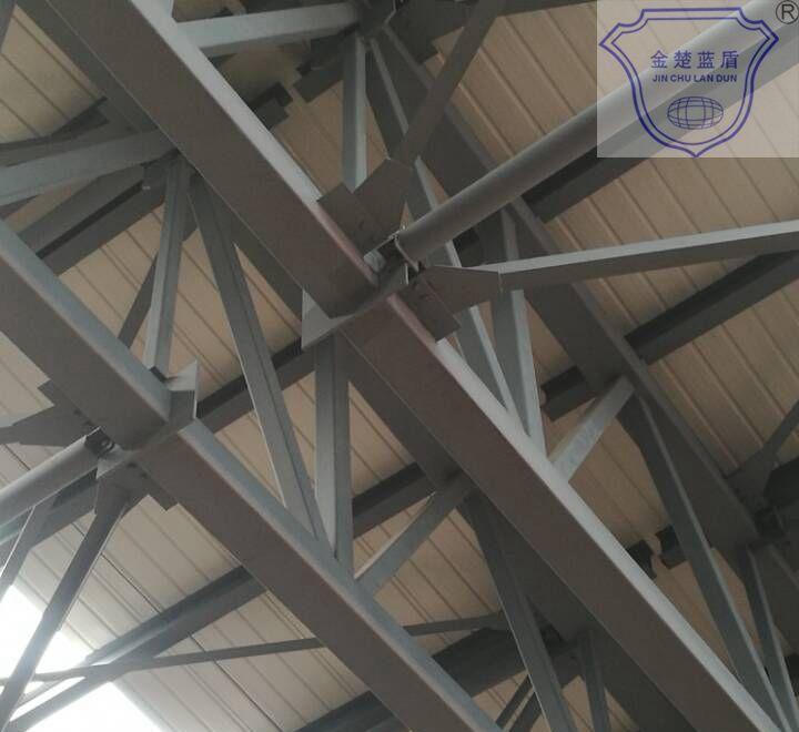 (2)薄型钢结构防火涂料应用范围:室内裸露钢结构,轻型屋盖钢结构及