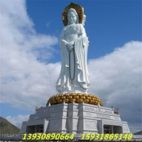 供应定做汉白玉石雕三面观音 四面观音 寺庙佛像厂家