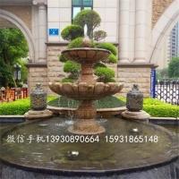 花岗岩石雕喷泉 园林景观黄锈石风水球喷泉流水摆件
