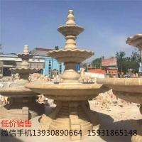 园林景观喷泉 黄锈石石雕喷泉 欧式大型喷泉喷水雕塑