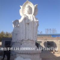 可定做汉白玉石雕三面观音 四面观音 菩萨佛像人物