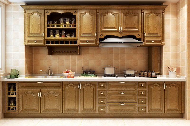 沈阳实木橱柜定制 整体厨房橱柜 古迪美克定制橱柜