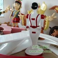 【方圳玻璃钢】送餐机器人玻璃钢雕塑外壳/商场机器人雕像