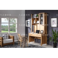 全实木家具榆木家具纯实木书桌椅书架组合写字台