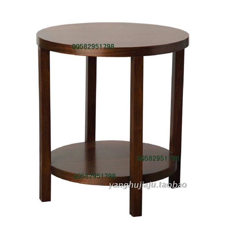 黑胡桃木家具实木圆形角几原木边几咖啡几实木小圆桌