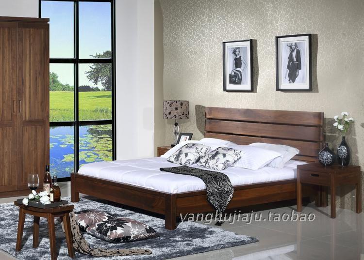 上海黑胡桃实木卧室家具纯木双人床现代简约