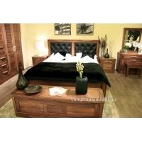 上海黑胡桃纯实木高档真皮软靠背全实木双人床1.8米