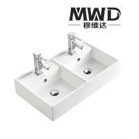 潮州欧式实用陶瓷双盆洗手盆 厨房洗菜盆690*390*1