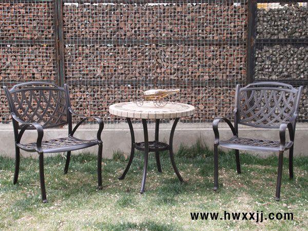 咖啡洞瓷砖圆桌户外铸铝家具阳台休闲桌椅花园家具