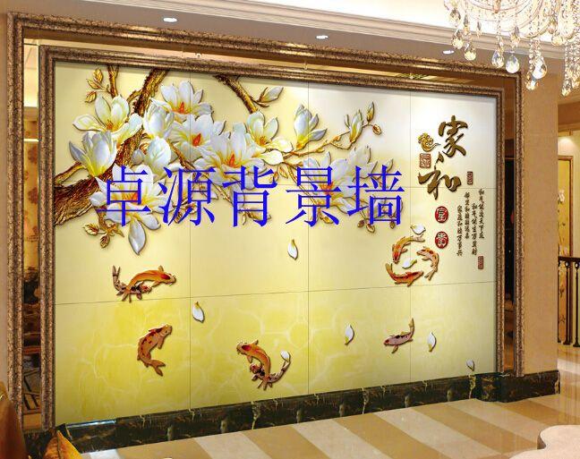 中式装修背景墙 陶瓷雕刻艺术背景墙 微晶石背景墙