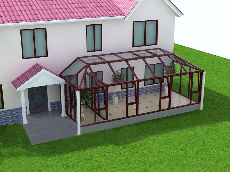 阳光房俗称玻璃房,它的建筑立面甚至包括顶部,全部为玻璃结构。阳光房可以搭建在复式楼的露台,一楼的私人花园,楼宇的顶层,私人别墅等地。我们在设计和建筑阳光房时,对于不同用途的阳光房在整体造型及结构方面,应视周围环境和场地的制约而定,再做出相应的设计方案。由于房间要采光通风,而且要有很好的密封效果,阳光房立面、顶部大部分由可开启的门窗组合,门窗质量的优劣决定着阳光房构建的成功与否。立面用门窗做墙体,高强度型材完全不需要另焊钢架做支撑;顶面用方管做支架,跨度超过2.
