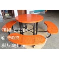 广场铁质连体桌椅 户外铁制桌椅 超市钢制餐桌椅