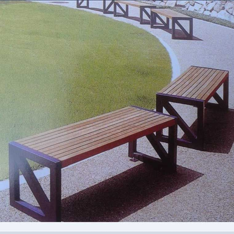 室外公园椅-广场实木凳子-户外铁制长椅