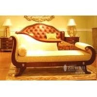 名匠轩-卧房系列---贵妃椅+床头柜皮床