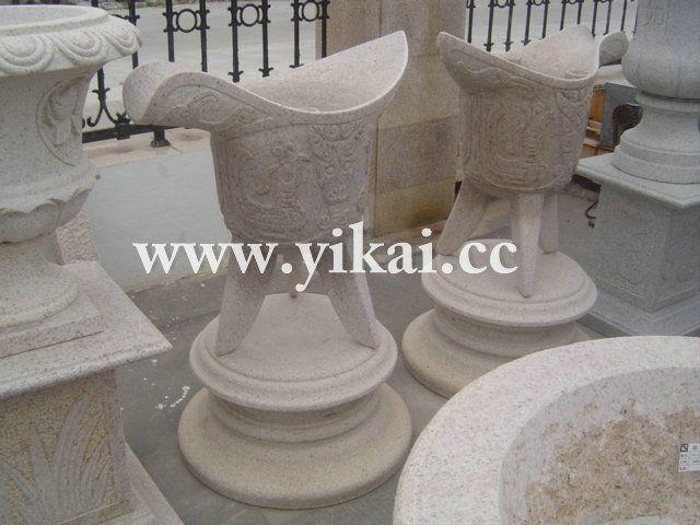 白麻花钵,花盆,古典花钵,中式花钵,园林景观花钵