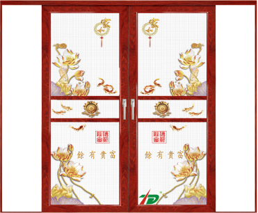 佛山伊琪雅厂家直销7号推拉防盗沙门创意彩绘纱窗