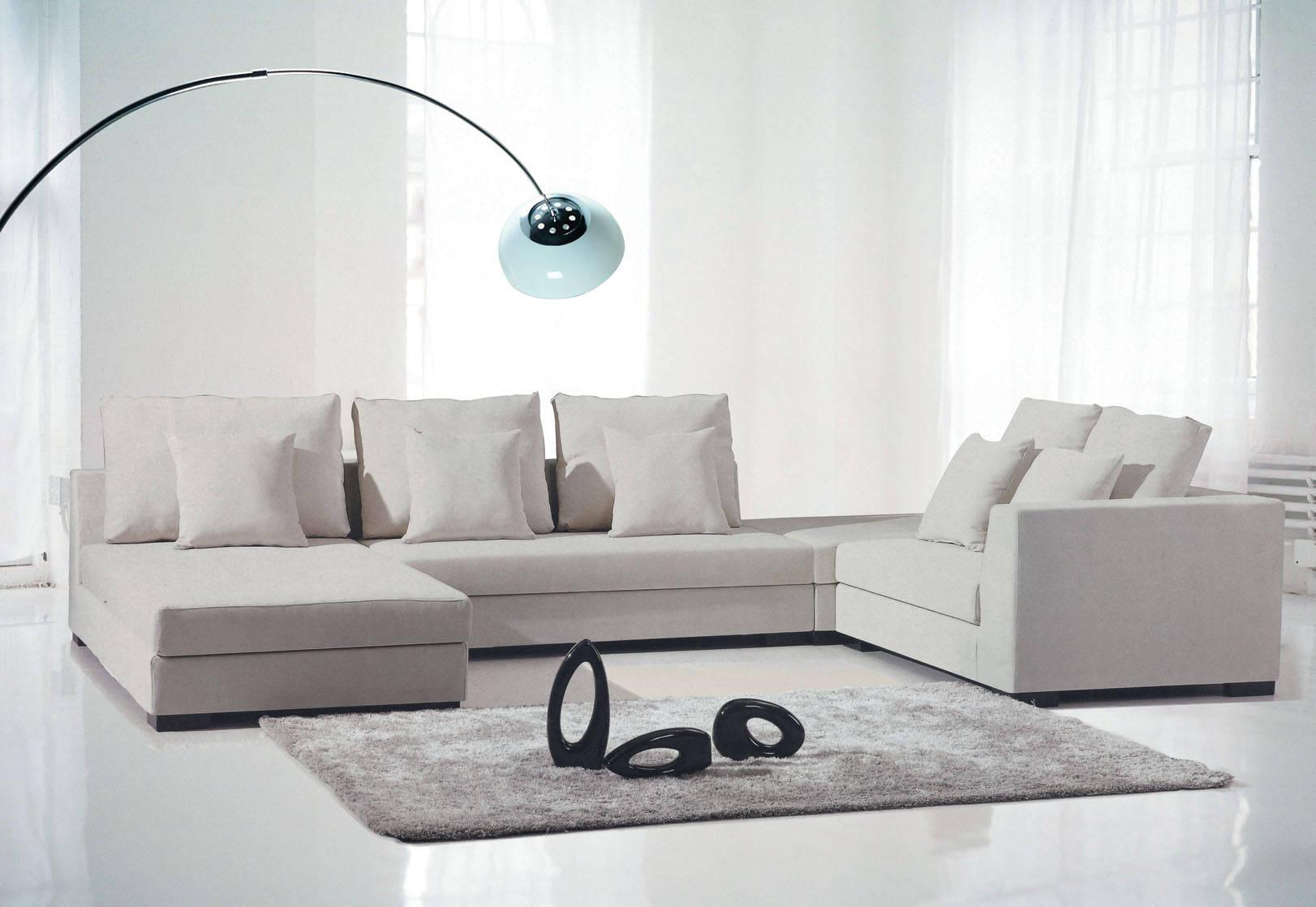 现代简约家具_现代简约休闲转角休闲布艺沙发顺德直销客厅家具D922#A产品图片