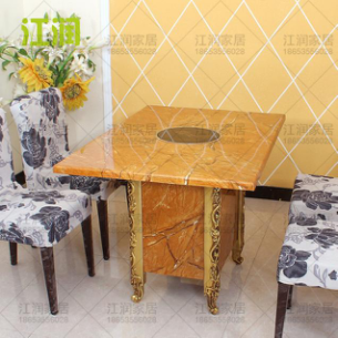 定制仿大理石火锅桌子电磁炉火锅桌火锅店桌椅组合燃气火锅餐桌台