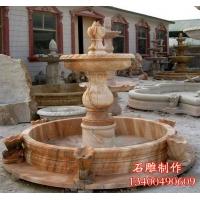 大理石水钵石雕喷 晚霞红喷泉园林水景雕塑居石雕塑