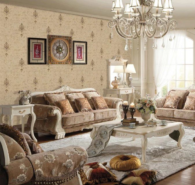 欧式高档无缝墙布 高精密刺绣墙布 卧室客厅墙布壁布