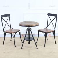 休闲桌椅餐厅桌椅茶几咖啡厅桌椅组合一桌两椅复古铁艺实木餐桌